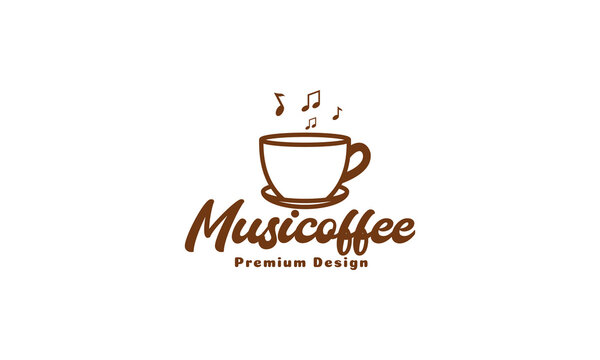 coffee cup lines with music song logo vector symbol icon design illustration