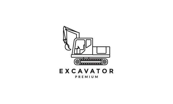 industrial heavy equipment excavator lines logo vector symbol icon design illustration