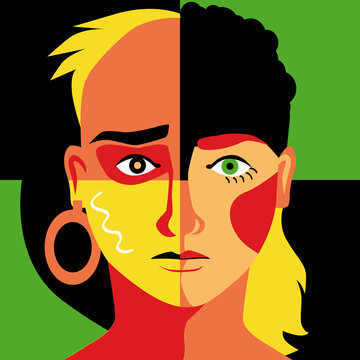 Modern colorful illustration of a human face divided into quarters representing different racial and gender group as a metaphor for diversity, EPS 8 vector illustration