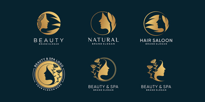 Set of beauty logo collection for woman, spa, saloon, with golden style Premium Vector