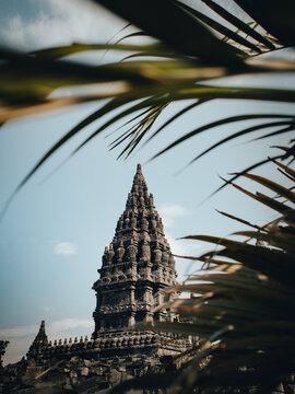 Low Angke View Of Prambanan Temple Against Blue Sky