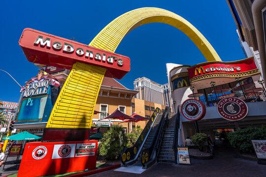 Las Vegas, Nevada, USA - Aug 17, 2019: McDonald's restaurant on the strip