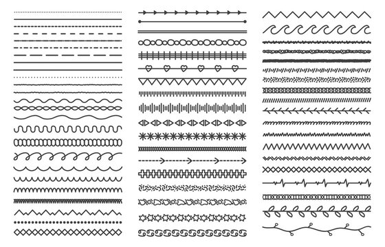 Hand drawn doodle dividers. Abstract doodle lines, decorative pencil strokes. Outline sketched dividers vector illustration set