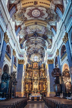 Swieta Lipka, Poland - August 23, 2017: Nave of Most Holy Virgin Mary, Queen of Poland, Holy Linden sanctuary in Swieta Lipka village