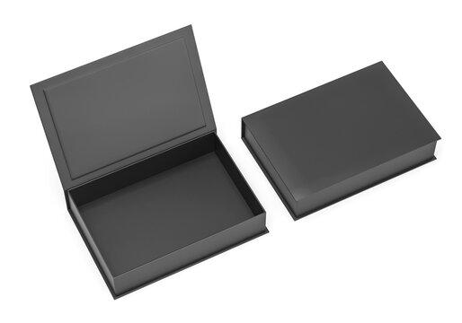 Black blank hard cardboard rectangular book box mock up template for branding presentation, 3d render