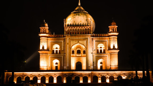 Low Angle View Of Illuminated Safdarjung Tomb Building At Night
