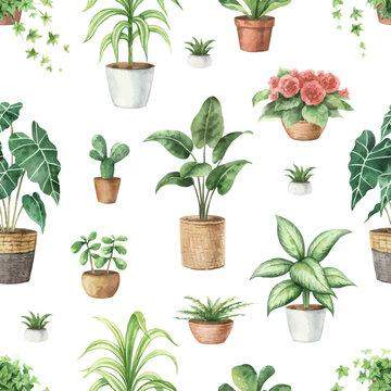 Watercolor vector seamless pattern of indoor green plants in pots.
