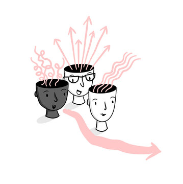 Head Spaces – Line illustration of hand-drawn team of heads with ideas and thoughts raising from their heads. Creativity, brainstorming, collaboration, inspiration, vision