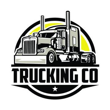 Circle trucking company logo. Bold badge emblem logo concept