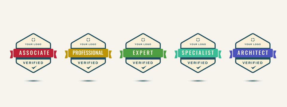 Verified logo badge design template.  Set of company business training badge certificates to determine based on criteria. Vector illustration certified logo design.