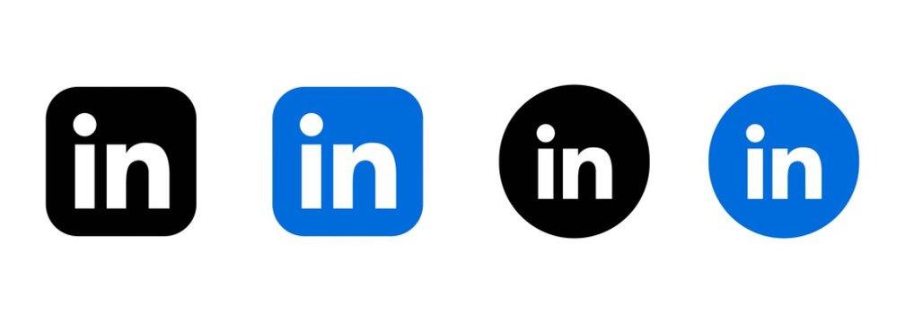 Kyiv, Ukraine - March 19, 2021: Set of LinkedIn icons. Social media icons. Realistic LinkedIn set. UI UX white user interface. Logo