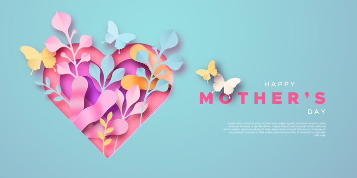 Happy Mother's Day paper cut heart template