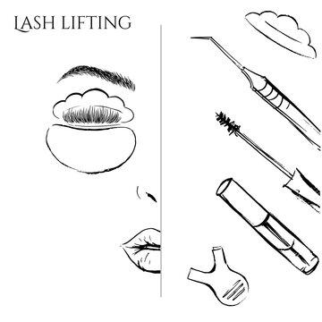 Eyelash lifting illustration. Beauty stylist tools.