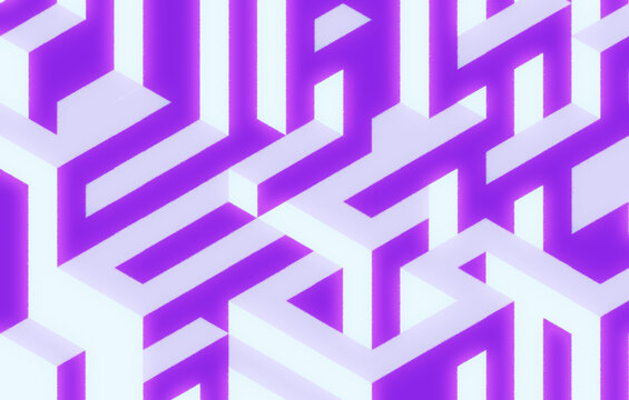 Isometric background, glowing rectangular extruded shapes 3D rendering. Purple polygonal backdrop.