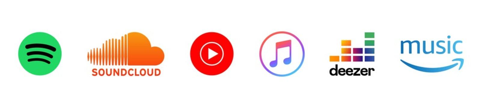 Set of apple music, spotify, youtube music, soundcloud, deezer, amazon music