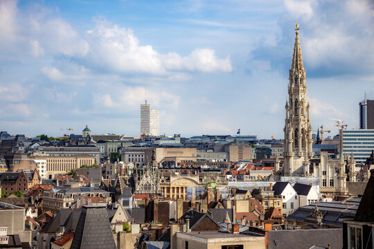 Skyline with the tower of Town Hall at Brussels, Belgium