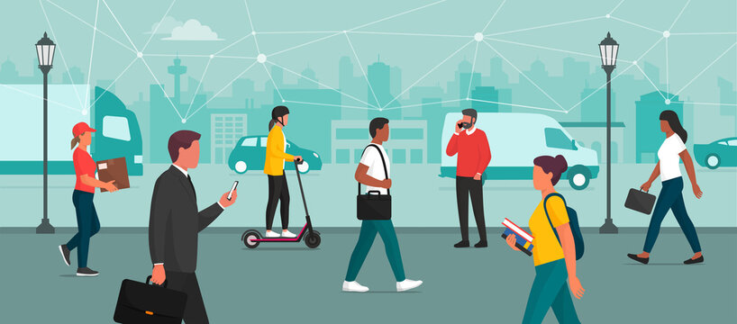 People connecting in the smart city