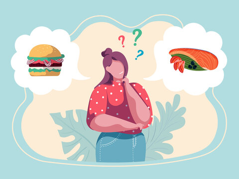 Woman choosing menu. Girl making a decision what to eat. Healthy vs unhealthy. Junk food versus balanced food. Nutrition. Colorful vector illustration. Flat cartoon style.