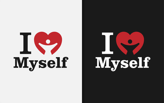 Creative Love Myself Graphic Design Template. Love Symbol with Happiness People Inside.