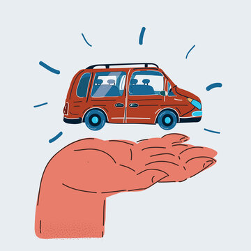 Vector illustration of hand with red car on the white background