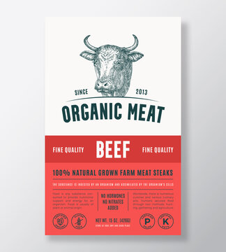 Organic Meat Abstract Vector Packaging Design or Label Template. Farm Grown Beef Steaks Banner. Modern Typography and Hand Drawn Cow Head Silhouette Background Layout with Soft Shadow