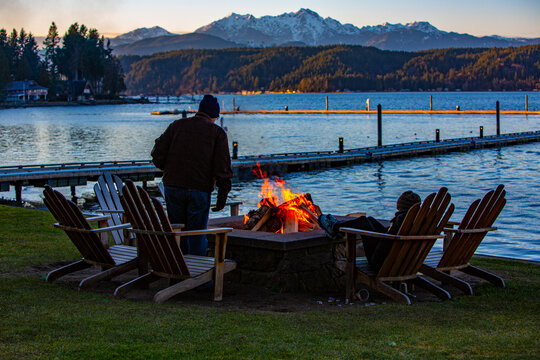 Hood Canal, Union Washington, waterfront, Fire in the firepit at the beach