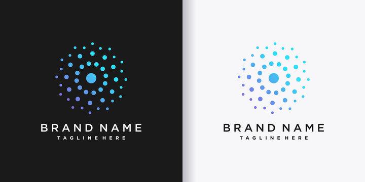 Monogram logo design with creative dot concept