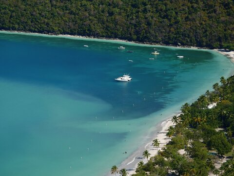 Magens Bay, aerial view. Magens Bay is one of the most popular beaches at St. Thomas, US Virgin Islands.