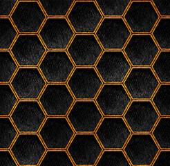 Gold and black geometric hexagon grid pattern art deco Background. Artistic pencil texture line style. Honeycomb dark repeat design