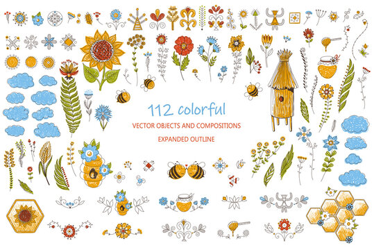 Honey bees isolated vector set. Cute bee cartoon collection. Funny illustrations, cartoon style icons. Beekeeping clip art objects, bright colorful graphic elements. beehives, flowers, honeycombs