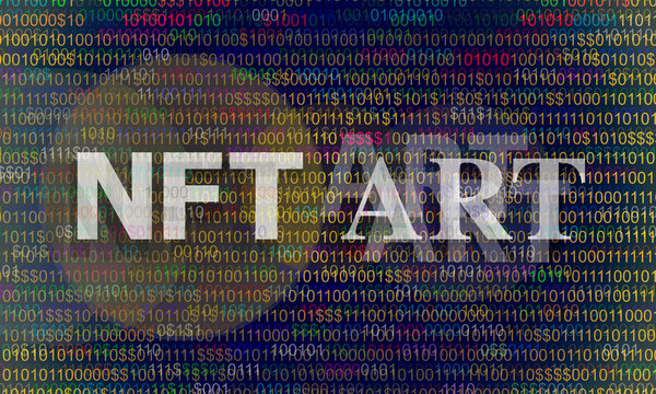 Text NFT (non-fungible token) Art on abstract background