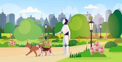 Wall Mural - modern robot walking with dogs artificial intelligence technology concept public park cityscape background horizontal full length vector illustration