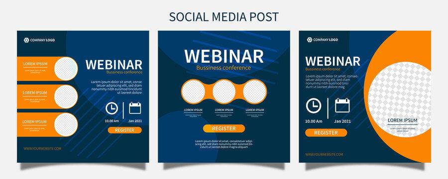 Set webinar social media post template concept design. online marketing promotion banner design vector illustration