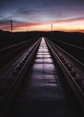 Wall Murals Railroad Railroad Track Against Sky During Sunset
