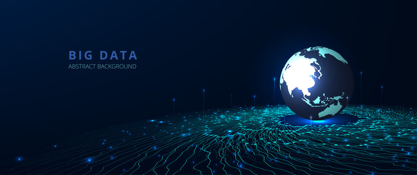 Big data network visualization concept.Vector big data visualization. 3d Round with Wave Lines moving towards the world. Futuristic infographic vector illustration.