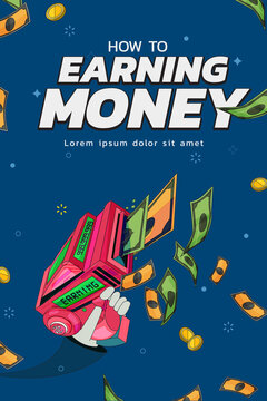 Earning money poster concept. gun and banknote - vector