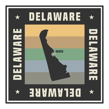 Abstract square stamp or sign with name of US state Delaware
