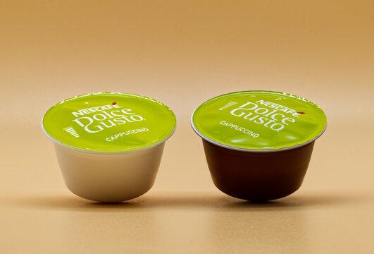 Bologna - Italy - November 11, 2020: Nescafe Dolce Gusto, capsule for home Cappuccino extra cream.