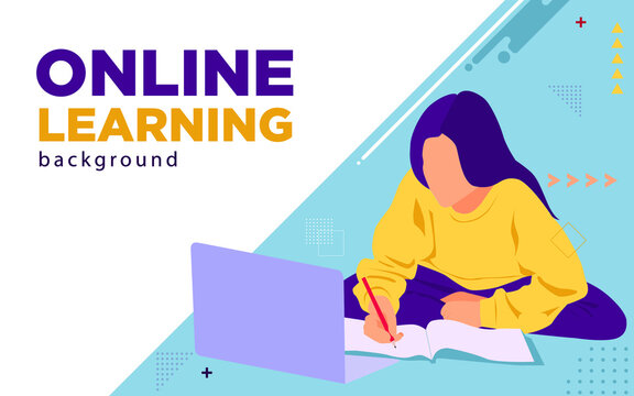 Online learning background in flat design