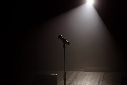 microphone on the stage with black background