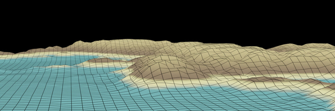 3D rendered low poly island.