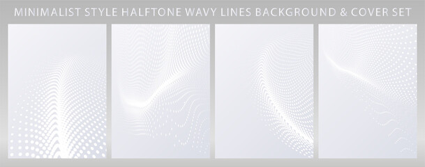 Wavy half  tone dotted lines brochure, flyer cover template set. Ideal for webpage, website landing page design or product display stand.