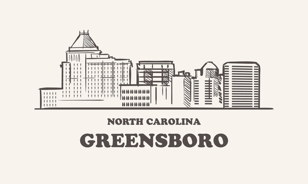 Greensboro skyline, north carolina drawn sketch