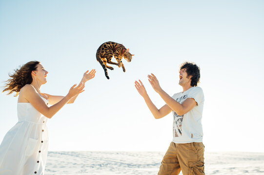 Cheerful young couple having fun on the beach with their bengal cat