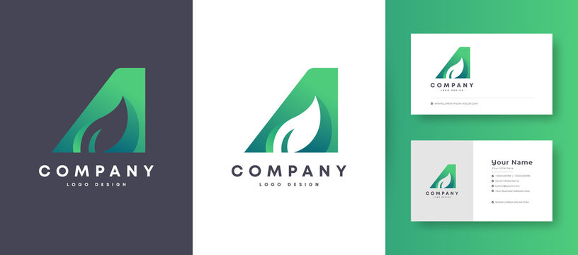 Flat Minimal and colorful Agriculture nature Leaf Logo With Premium Business Card Design Vector Template for Your Company Business