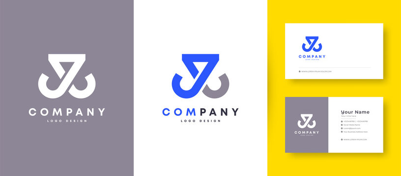 Crown Flat Minimal Initial J, JJ, and JL Letter Logo With Premium Business Card Design Vector Template for Your Company Business