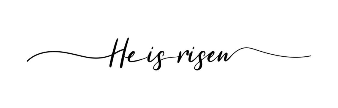 Easter. He is risen lettering. Christian typography poster. Easter poster. Easter lettering. Vector