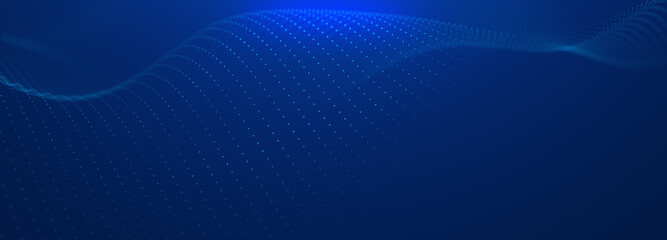 Beautiful abstract wave technology background. Blue light effect corporate concept background. Digital technology wave line dots background