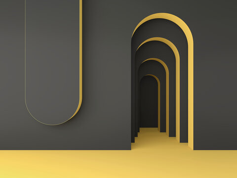 Abstract minimal geometric black and yellow background; simple clean arched design; luxury minimalist mockup; primitive shapes; wall niche; blank space; art deco display; 3d rendering, 3d illustration
