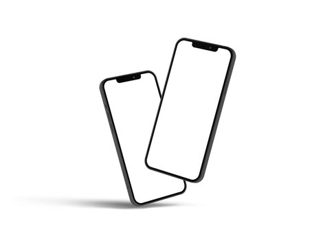Bangkok, Thailand - MAR 15, 2020 : Smartphone mockup iphon frameless of Smartphone iPhone 12 Pro Max with blank screen for Infographic Global Business web site design app, - Clipping Path